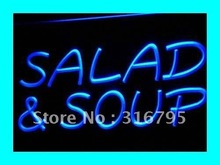 i453 Salad and Soup Cafe Restaurant LED Neon Light Sign On/Off Swtich 7 Colors 4 Sizes