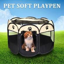Dog Cat Portable House 91X91X58CM Playpen Pet Fence Tent 8 Panels Puppy Crate Cage Kennel Carrier Foldable Hammock 2 Colors(China)