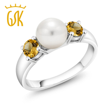 GemStoneKing 0.64 Ct Round Natural Yellow Citrine Engagement Ring 925 Sterling Silver Freshwater Pearl Ring For Women(China)