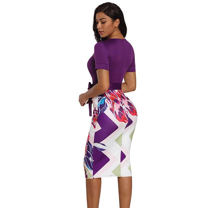 Purple-Bowknot-Short-Sleeve-Printed-Sheath-Dress-LC610096-8-2