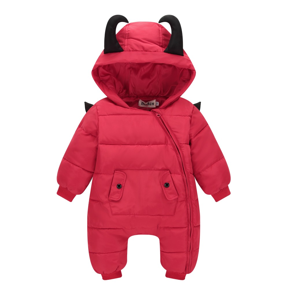High Quality Thick Baby Winter Jumpsuit Warm Infant Baby Hooded Outwear Boys Girls Cartoon Devil Clothes 0-24M<br>