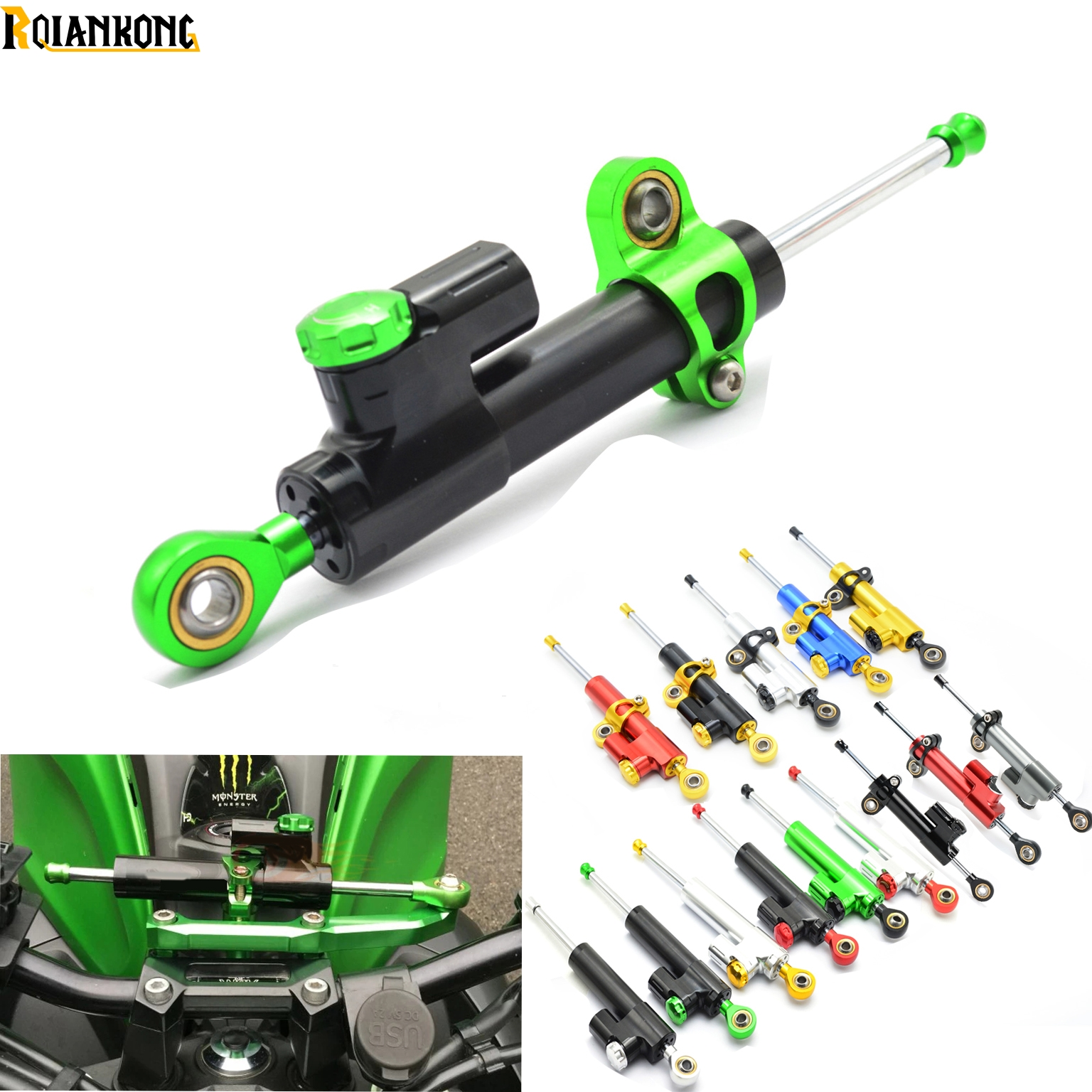 CNC Aluminum Motorcycle Steering Damper Stabilizer Linear Safe Control for Kawasaki ZRX1100 ZRX1200 ZX1100 ZZR1400<br>