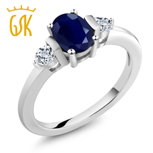 1.30 Ct Oval Blue Sapphire White Topaz 18K White Gold Ring
