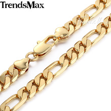 Trendsmax 9/10MM Mens Chain Smooth Cut Figaro Link Boys Yellow Gold Filled Necklace Customize Size Wholesale Jewelry Gift GN380