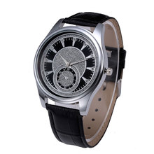 FUNIQUE 2017  Watch Men Double Dial Leather Strap Male Clock Hand Wrist Watch Men Simple Quartz Sport Watch Masculino