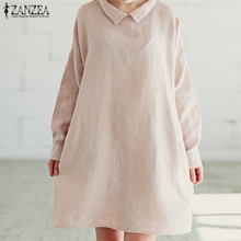 Buy ZANZEA Women Casual Loose Knee Length Dress 2017 Autumn Vintage Long Sleeve Solid Buttons Cotton Dresses Vestidos Plus Size for $12.99 in AliExpress store