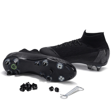 sufei Men Soccer Shoes SG Football Boots Black Original Superfly Sport VI Children High Top Latch Studs Cleats Wholesale(China)