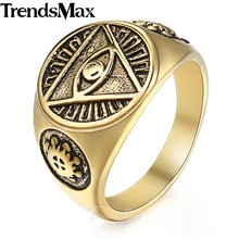 Trendsmax Men's ring Illuminati pyramid eye symbol gold silver color 316L stainless steel ring jewelry for men HR365(Hong Kong,China)