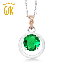 925 Sterling Silver and 10K Rose Gold Pendant Nano Emerald with Diamond Accent(China)