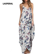 LASPERAL Plus Size 3XL 2017 Summer Long Dress Beach Wear Boho Ladies Sleeveless Vestidos Floral Spaghetti Strap Shift Maxi Dress