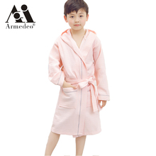 Armedeo 2017 Hot cotton diamonds waffle children's bath hats hats in the big boys and girls swimming bathrobe(China)