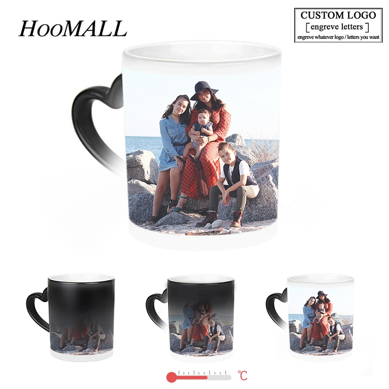 Hoomall Drop Shipping DIY Photos Letters Custom Service Magic Color Changing Coffee Mugs Gifts for Lovers Friends Families(China)
