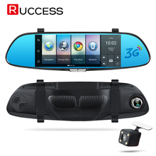 "Ruccess 7"" 3G Android 5.0 Rearview Mirror Camera Car DVR GPS Navigation Global Map Navigator Bluetooth Wifi Video Recorder Dash(China)"