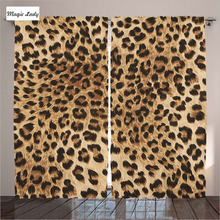 Luxury Curtains Drapes Living Room Bedroom Leopard Sexy Natural Safari Fur Skin Animal Black Brown