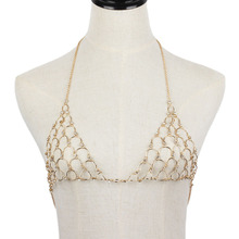 Boho Fashion Gold Color Net Grid Tassel Harness Necklace Body Jewelry Sexy Bikini Belly Metal Alloy Bra Chain Body Chain(China)