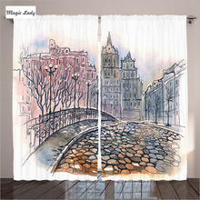 Curtains Europ Drawing Decorations Buildings London Bridge Art Cobblestone Foggy Living Room Bedroom White Grey 290x265 cm home