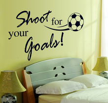 Shoot For Your Goals Boys Game Kids Room Wall Decals Football English Letters Wall Sticker Removable Sticker Home Decoration(China)