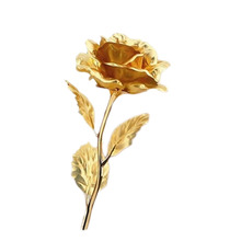 Gold Foil Plated Rose Wedding Decoration Golden Rose Gold Dipped flore artificiales Gold Rose artificial flower 6 Color(China)