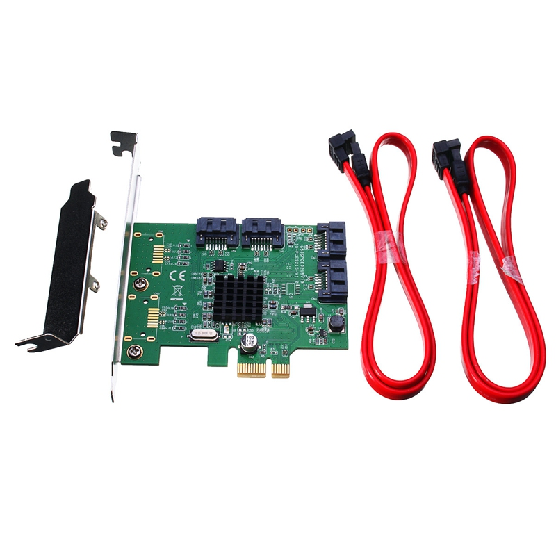 High Quality 4 Port SATA Internal PCI-Express X1 3.0 6Gb/s Expansion Card Chipset<br>
