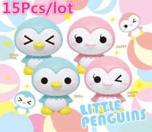15Pcs/lot Penguin Squishy Baby Doll Slow Rising Retail Package Jumbo Phone Straps Charms Scented Pendant Cake Bread Kid Toy Gift
