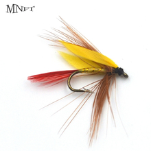 MNFT 10PCS 12# Yellow Color Grizzly Wing May Fly Fishing Trout Lures Mayfly Nypmh Mosquito Lure