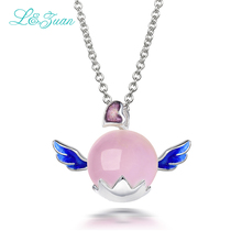 l&zuan S925 Silver Rose Quartz Pendants Necklaces For Women Trendiest Lovely Heart Angel Natural Pink Gemstones Fine Jewelry(China)