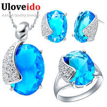 Uloveido Silver Color Jewelry Sets Wedding Accessories Jewelery Earings Pendant Necklace Ring Earring Wedding Jewelry Set T060
