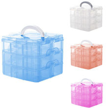 3 layer detachable desktop storage box Transparent Plastic Storage Box Jewelry Organizer Holder Cabinet for small object
