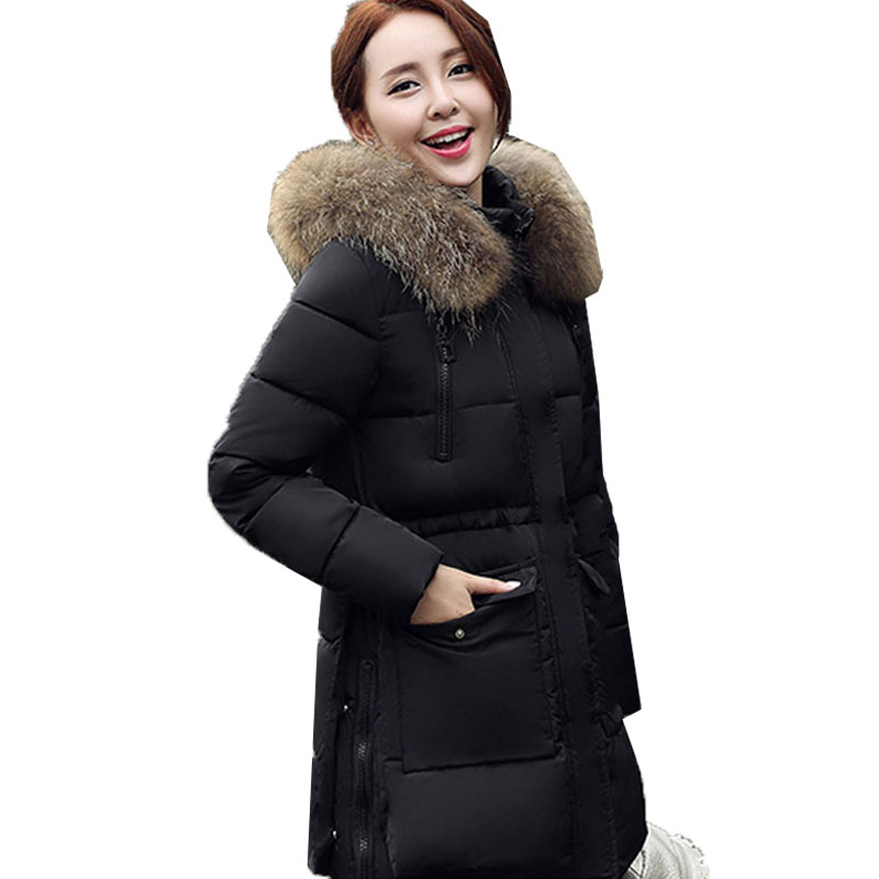 2017 Women Faux Fur Collar Hooded Long Sleeve Zipper Cotton Down Padded Winter Warm Black Jacket Casual Long Coat Parka OutwearÎäåæäà è àêñåññóàðû<br><br>
