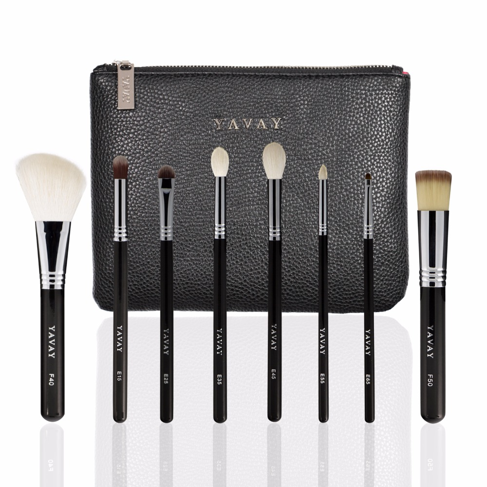 YAVAY 8PCS LUXE SET VOL.2 Professional Makeup Brush Fine Goat Hair For Powder Blusher Concealer Eye Shadow Lip Eye Liner Brush<br>