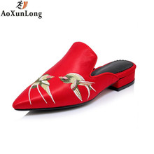 Spring Women Slippers Fashion Silk Embroidered Slippers Women Pointed Shoes Woman Red Black 34-42 Women Flip Flop zapatos mujer(China)