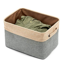 2017 Cube Storage Bins, Foldable, Canvas Fabric Tweed Storage Cube Bin Set With Handles 3 sizes(China)
