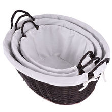 3Pcs/set Storage Basket with Linen Willow Wicker Picnic Shopping Hamper with Handle Round Oval Rattan Steamed Cassette