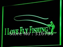i729 Fly Fishing Fish Shop Display LED Neon Light Sign On/Off Switch 7 Colors 4 Sizes