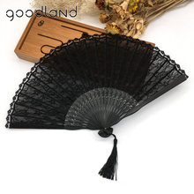 Free Shipping 1pcs Handmade Cotton Lace Black Hand Fans Folding Party Wedding Dancing Folding Hand Fan Home Decor(China)