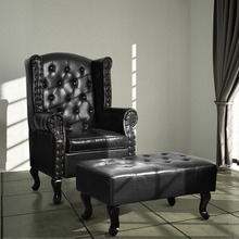 Tufted Brown/Black Leather Sofa Classic Armchair Living Room Furniture()