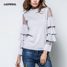 Buy LASPERAL 2017 New Spring Summer T Shirt Women Fashion Tops Mesh Patchwork Layered Sleeve Slim Tee Female Long Sleeve Tee-Shirt for $10.76 in AliExpress store