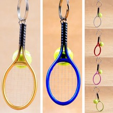 6 Color! Creative Personality Tennis And Mini Tennis Racket Key Ring Keys Chain Key Holder Gift For Men / Women(China)