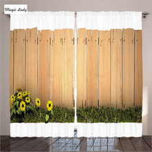 Curtains Rustic Fence Village Traditional Ethnic Flowers Rural Art Wooden Living Room Bedroom Skies Grass Brown 290x265 cm home