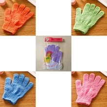 New 1 pcs Five fingers Shower Bath Gloves Exfoliating Wash Skin Spa Bath Gloves Massage Body Scrubber Cleanning Bath Brushes(China)