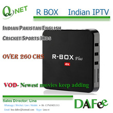 4K UHD Android TV Box R-BOX Indian IPTV Cricket Sports India Pakistan Bangladesh Watch Live TV 260 Channels VOD Trial Free Ship