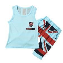 MUQGEW 2PC Set Clothes Children Clothing Baby Boys Clothes Union Jack Outfits Vest Tops Shorts Pants Boys Clothing(China)