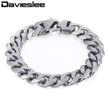 Buy Davieslee Mens Chain Matte Brushed Polished Bracelet 316L Stainless Steel Cut Curb Cuban Link Silver Tone 14.5mm LHBM109 for $6.32 in AliExpress store