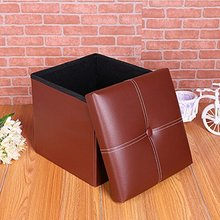 Leather Folding Organizer Storage Ottoman Bench Storage Box, Storage Footrest Stool Coffee Table Cube, Quick and Easy Assembly