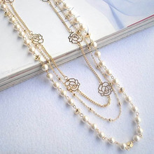 Fashion Long Sweater Chain Ornaments Imitation Pearl Rose Flower Girl Dress Multilayer Long Necklace(China)