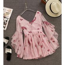 PKR 3,219.32  31% Off   2019 Summer New Arrival Super Fairy Butterfly Sleeve V Neck Fragmented Floral Dress Chiffon 3/4 Sleeve Mini Dress Free Shipping