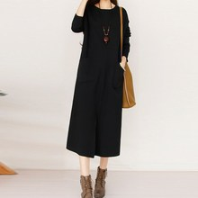 Buy 2017 Autumn Winter Vintage Solid Dresses High Collar Long Sleeves Pockets Split Casual Female Leisure Vestido 5 Color Dress New for $18.76 in AliExpress store