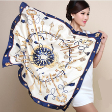 Euro style H key compass simulation trace towel sunscreen shawl silk 90cm*90cm square scarf