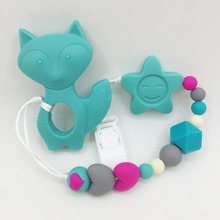 Silicone fox Caroon Pacifier BPA Free Baby Teether Necklace Pendant Hand made Funny Colorful Bead Clip Holder Pacifier Pendant