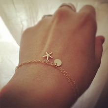 KBJW 2017 New Fashion Small Starfish Charm Round Disk Charm Bracelet Two Layers Double Chain Bracelet for Women and Kids Gift